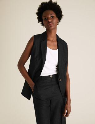 Womens M&S Collection Blazer sans manches coupe droite en lin avec ceinture - Black