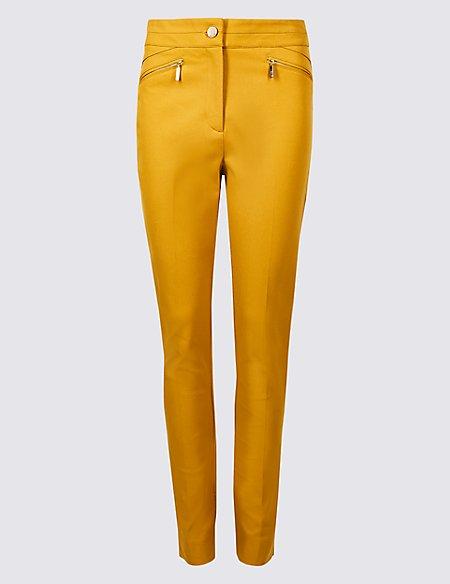 Cotton Rich Stretch Slim Leg Trousers