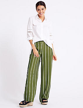 Striped Wide Leg Flared Trousers