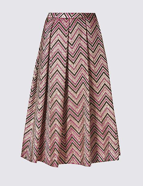 Zigzag Print A-Line Skirt
