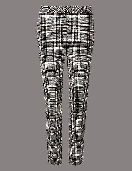 Checked Slim Leg Trousers