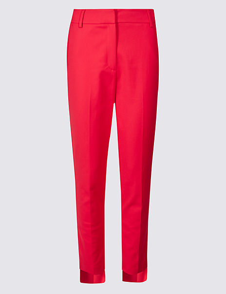 Cotton Blend Step Hem Slim Leg Trousers