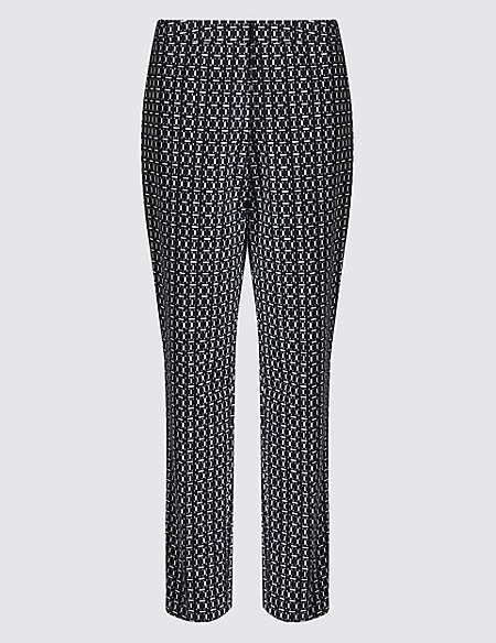 Dash Print Slim Leg Trousers