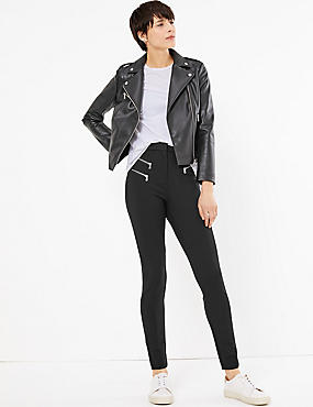 Zipped Pocket Skinny Leg Trousers