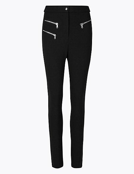 Zipped Pocket Skinny Leg Trousers