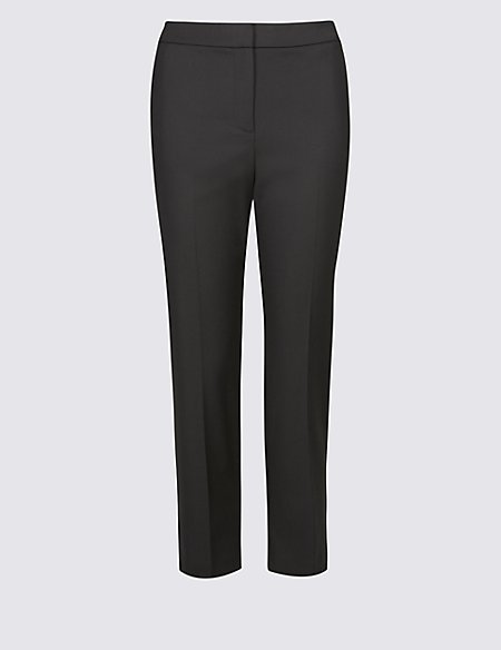 Elastic Back Cropped Straight Leg Trousers black Marks and Spencer Outlet Perfect Cheap Sale Choice Cheap Price Buy Discount Clearance Shopping Online AXwAQ