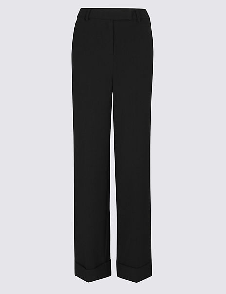 Turn-up Wide Leg Trousers