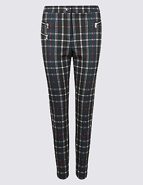 Checked Zipped Pocket Trousers
