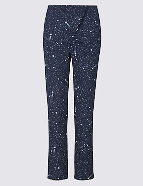 Star Print Tapered Leg Wrap Front Trousers
