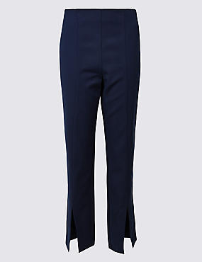Cotton Blend Split Front Slim Leg Trousers