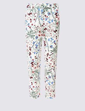 Cotton Rich Floral Print Slim Leg Trousers