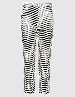Geometric Print Slim Leg Cropped Trousers