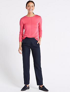 Linen Blend Straight Leg Trousers , NAVY, catlanding