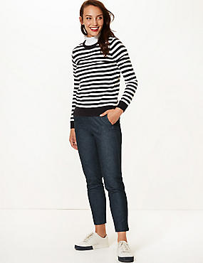 Cotton Rich Textured Slim Leg Trousers