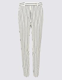 Cotton Blend Striped Slim Leg Trousers