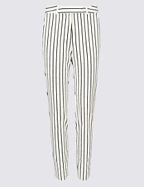 Cotton Blend Striped Slim Leg Trousers