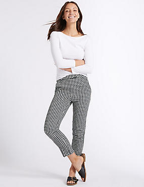 Checked 7/8th Crop Slim Leg Trousers