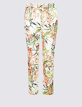 Cotton Rich Floral Print Trousers