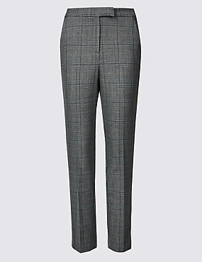 Checked Slim Leg Trousers