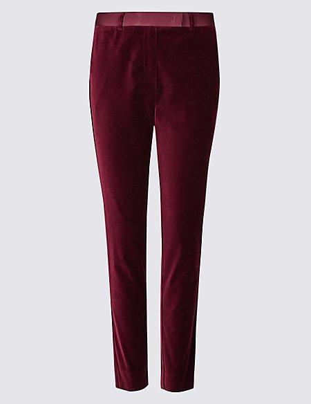 Cotton Rich Velvet Slim Leg Trousers