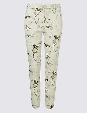 Cotton Blend Floral Ankle Grazer Trousers
