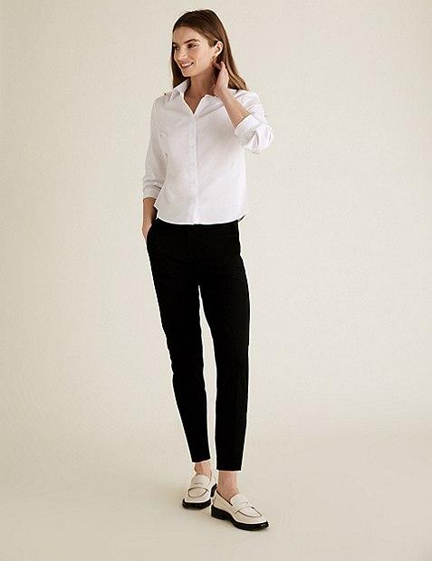 PETITE Cotton Blend Slim Leg Trousers