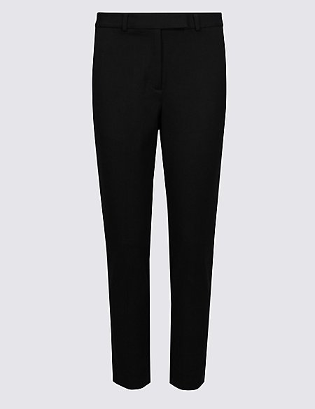 PETITE Cotton Blend Slim Leg Trousers