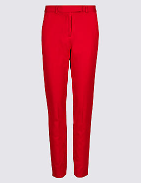 Cotton Blend 4 Way Stretch Ankle Grazer Trousers, RED, catlanding