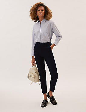 Cotton Blend 4 Way Stretch Ankle Grazer Trousers, , catlanding