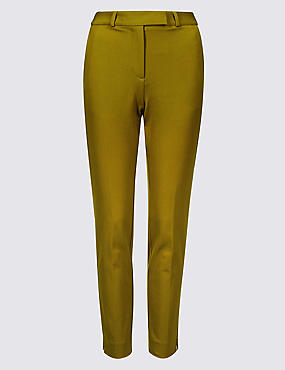 Cotton Blend 4 Way Stretch Ankle Grazer Trousers
