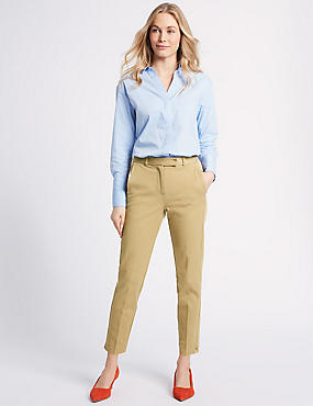 Cotton Blend 4 Way Stretch Ankle Grazer Trousers, TOFFEE, catlanding