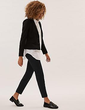 Cotton Blend 4 Way Stretch Ankle Grazer Trousers, BLACK, catlanding