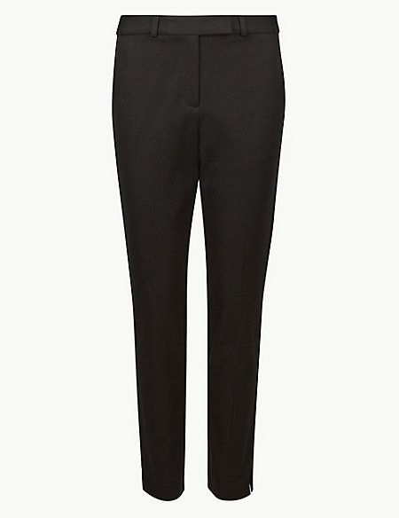 Cotton Blend Ankle Grazer Trousers