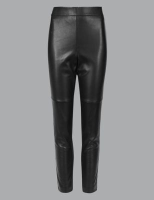 Leather Ponte High Waist Leggings by Marks & Spencer