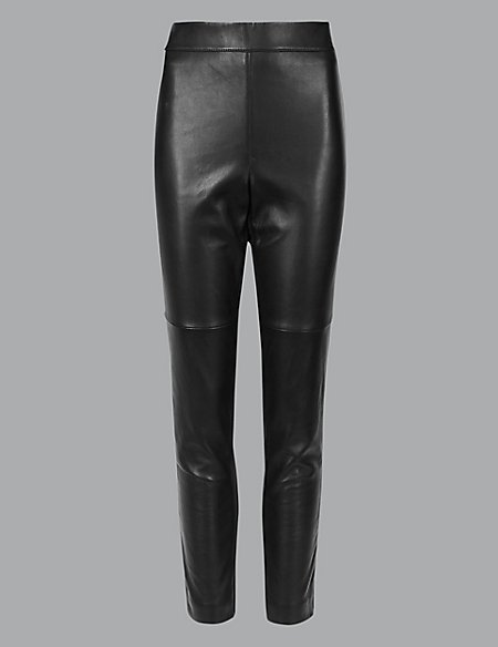 Leather Ponte High Waist Leggings