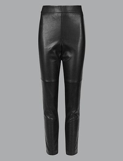 M/&s collection Taille Haute Cuir Noir Look Pantalon UK 18 reg /& 14 16 court