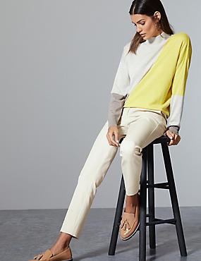 Cotton Rich Slim Leg Ankle Grazer Trousers