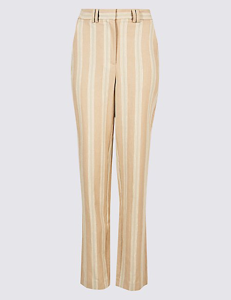 Linen Blend Striped Straight Leg Trousers