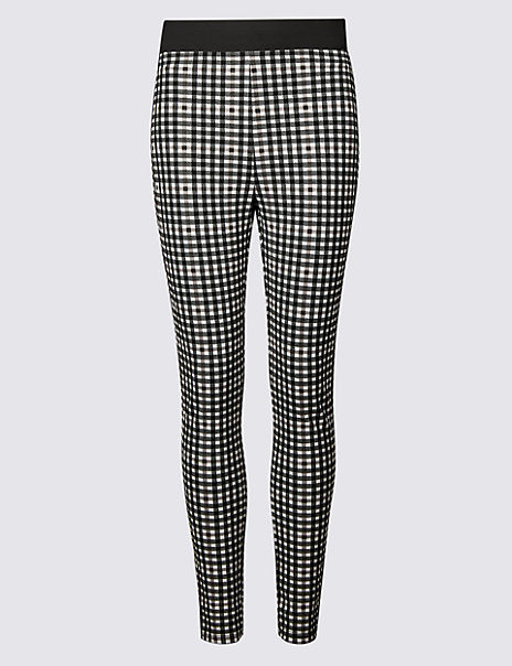 Checked Skinny Leg Trousers
