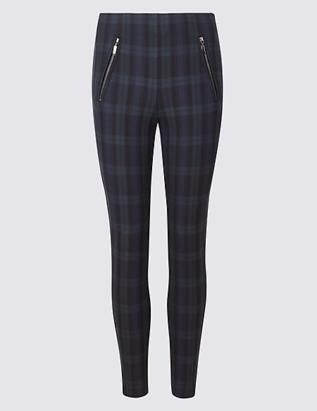 Cotton Rich Checked Skinny Leg Trousers