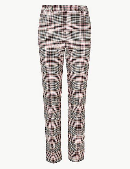 Checked Slim Leg Ankle Grazer Trousers