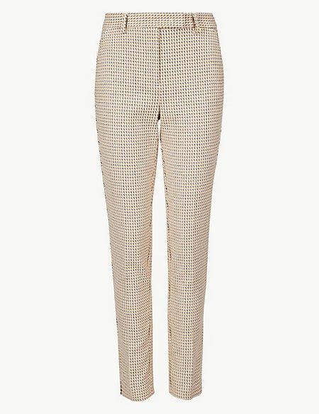 Textured Slim Leg Ankle Grazer Trousers