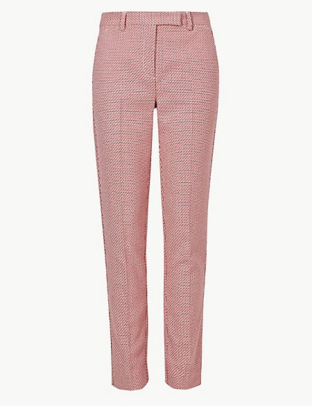 Checked Slim Leg Ankle Grazer Trousers