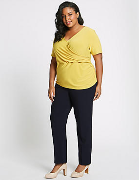 CURVE Straight Leg Trousers, NAVY, catlanding