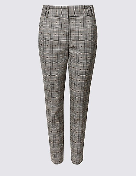 Cotton Blend Checked Trousers
