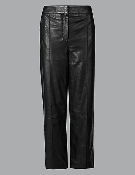 Leather Straight Leg Trousers