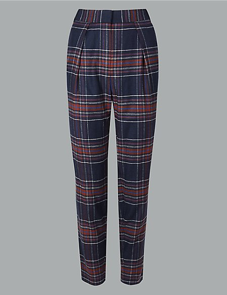 Wool Blend Checked Tapered Leg Trousers
