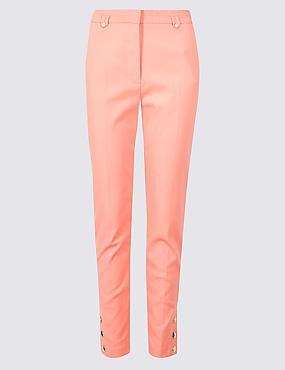 Cotton Blend Snap Hem Straight Leg Trousers
