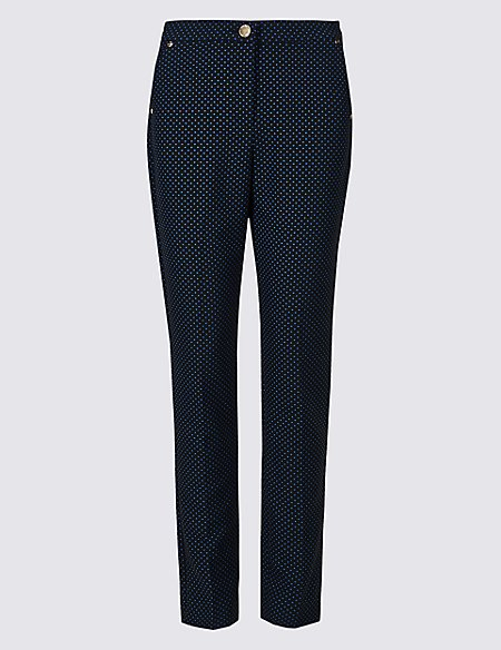 Cotton Blend Spotted Peg Trousers