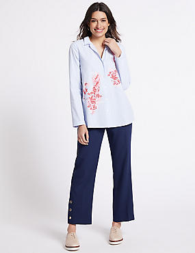 Button Detail Ankle Grazer Straight Trousers